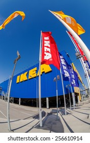 SAMARA, RUSSIA - APRIL 19, 2014: IKEA flags at the IKEA Samara Store. IKEA is the world's largest furniture retailer. It was founded in Sweden in 1943