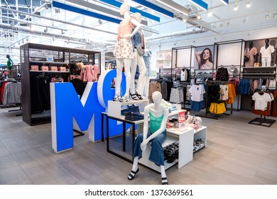 Samara, Russia - April 20, 2019: MODIS clothing shop at the shopping centre Ambar. MODIS is a Russian company specializing in the manufacture and trade of clothing, footwear and accessories