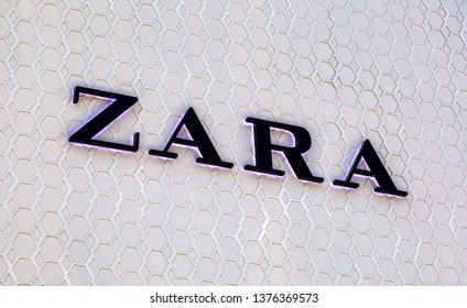 Samara, Russia - April 20, 2019: ZARA is a Spanish clothing and accessories retailer based in Galicia Spain