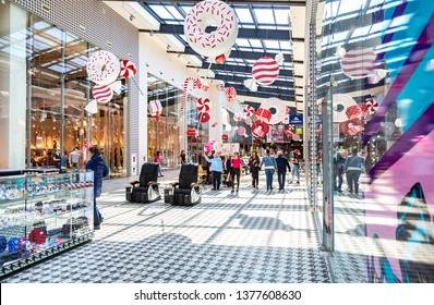 Samara, Russia - April 20, 2019: Interior of shopping mall Ambar. The one of largest and most impressive shopping center in Samara