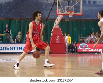SAMARA, RUSSIA - APRIL 21: Milos Teodosic of BC CSKA, with ball, is on the attack during a BC Krasnye Krylia game on April 21, 2013 in Samara, Russia.