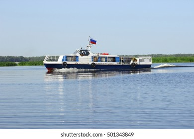 Samara, Russia - August 06, 2016. the boat returned from the river walk with tourists on Board who are tired of the rest and hid inside