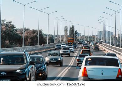 Samara, Russia - August 11, 2018: Car traffic at the entrance to the city of Samara