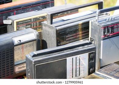 Samara, Russia - August 18, 2018: Old transistor radios