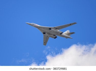 "Samara, Russia, August 22: Tu-160 "" White Swan"" supersonic strategic bomber on the airshow"
