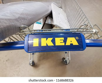 Samara, RUSSIA - AUGUST 26, 2018: trolley with an Ikea sign. IKEA is the world's largest furniture retailer.