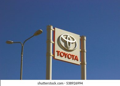 Samara, Russia - August 30, 2016. billboards with the logo and the inscription of the manufacturer of TOYOTA cars