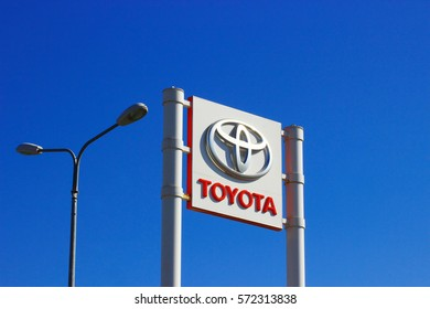 Samara, Russia - August 30, 2016. Shield with the emblem and inscription of the manufacturer of the brand car TOYOTA, which informs you the site where you sold the car brand TOYOTA
