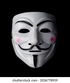 SAMARA, RUSSIA - August 31, 2021: Vendetta mask isolated on black. Guy Fawkes mask. This mask is a well-known symbol for the online hacktivist group Anonymous.