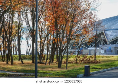 Samara, Russia - Autum, views and landscapes of the stadium, 2018: Samara Arena football stadium. Samara - the city hosting the FIFA World Cup in Russia in summer 2018