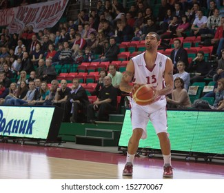 SAMARA, RUSSIA - DECEMBER 05: Chester Simmons of BC Krasnye Krylia, with ball, is on the attack during a BC CSU Asesoft Ploiesti game on December 05, 2012 in Samara, Russia.