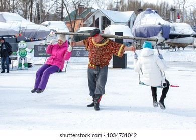 Samara, Russia - February 17 208: traditional Russian festival maslennitsa, people  dance and play to follow winter and spring coming