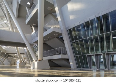Samara, Russia - February, 2018: football world cup 2018 stadium construction