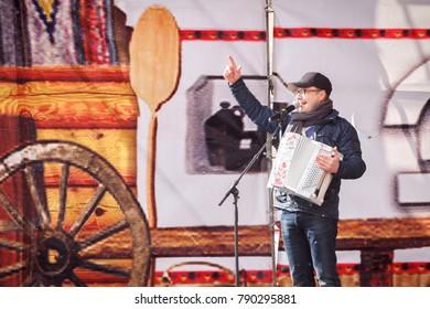 SAMARA, RUSSIA - FEBRUARY 26, 2017: Speech by Sergei Voitenko at the Samara Shrovetide, Slavic tradition of the spring meeting