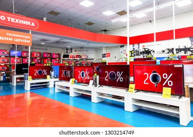 Samara, Russia - February 3, 2019: Interior of the electronics store M-Video. Is the largest Russian consumer electronic retail chain