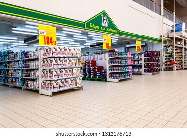 Samara, Russia - February 6, 2019: Sale of pet products in Auchan Samara Store