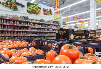 SAMARA, RUSSIA - FEBRUARY 7, 2015: Fresh vegetables ready for sale in the hypermarket Magnit. One of largest retailer in Russia