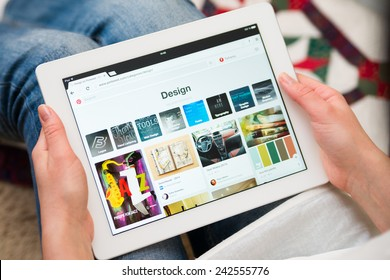 Samara, Russia - January 08, 2015: Close up of pinterest website on a ipad screen. pinterest announces a new application for mobile devices. Travel page