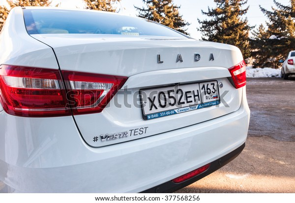 SAMARA, RUSSIA - JANUARY 14, 2016: Back part of the New Russian Car Lada Vesta with license plate. Lada is a Russian automobile manufacturer