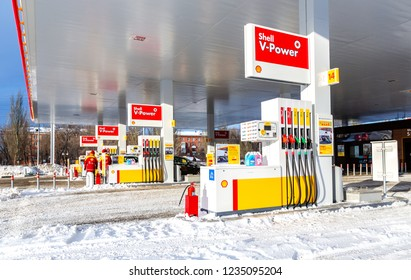 Samara, Russia - January 8, 2018: Shell gas station with fueling cars in wintertime