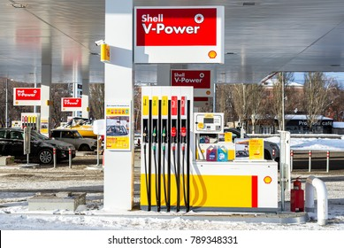 Samara, Russia - January 8, 2018: Filling the column with different fuels at the gas station Shell