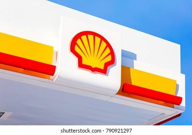 Samara, Russia - January 8, 2018: Emblem of the Royal Dutch Shell oil company against the blue sky