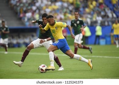 SAMARA- RUSSIA - JULY 02, 2018:   World football match between Brazil and MEXICO at ARENA SAMARA