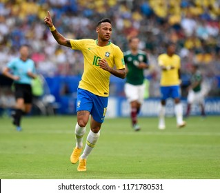 SAMARA- RUSSIA - JULY 02, 2018:   World football match between Brazil and MEXICO at ARENA SAMARA. Player Neymar