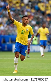 SAMARA- RUSSIA - JULY 02, 2018:   World football match between Brazil and MEXICO at ARENA SAMARA. Player Neymar