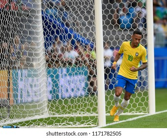 SAMARA- RUSSIA - JULY 02, 2018:   World football match between Brazil and MEXICO at ARENA SAMARA. player Neymar Jr
