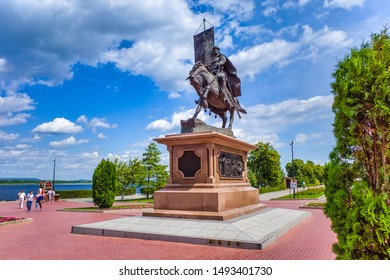 Samara, Russia - July 11, 2019: Monument dedicated to the main founder of the city and the first voivode Prince Gregory Zasekin on the quay of Volga river