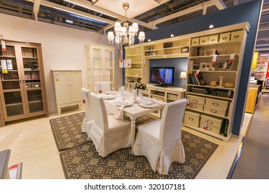SAMARA, RUSSIA - JULY 20, 2015: A sample of the interior in IKEA store, Samara. IKEA was founded in of Sweden in 1943, IKEA to have large chain stores around the world