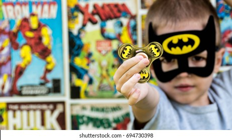 Samara, Russia - July 24,2017 ; The boy in Batman costume.Batman is a popular charactel Marvel.