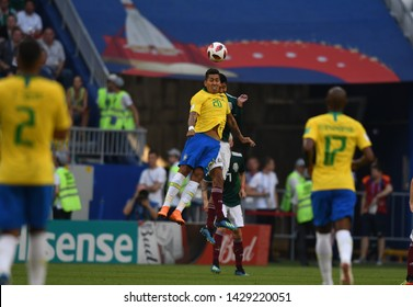 Samara, Russia, July, 3, 2018: Brazil Striker Roberto Firmino plays the ball off with his head jump during the match of 1/8 final of world football championship in 2018, Brazil - Mexico