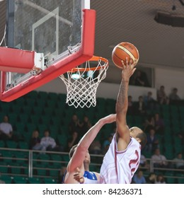 SAMARA, RUSSIA - JUNE 04: Ernest J.R. Bremer (No.22) of BC Krasnye Krylia in the fight for the ball with the player of BC Enisey on June 04, 2011 in Samara, Russia.
