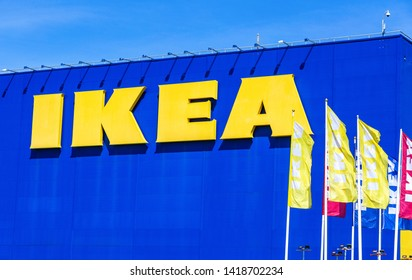 Samara, Russia - June 1, 2019: IKEA flags near the IKEA Store. IKEA is the world's largest furniture retailer, founded in Sweden