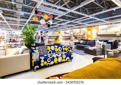 Samara, Russia - June 1, 2019: Interior of the IKEA Samara Store. IKEA is the world's largest furniture retailer, founded in Sweden