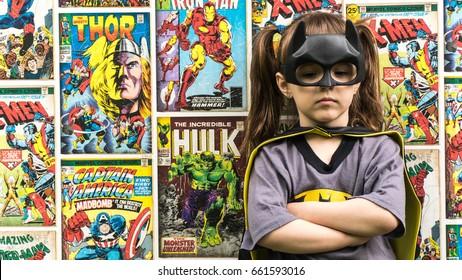 Samara, Russia - June 16, 2017 ; The girl in Batman costume.Batman is a popular character for Marvel.