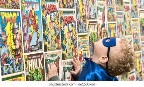 Samara, Russia - June 16,2017 ; The boy in Superman mask.Superman is a popular charactel Marvel.