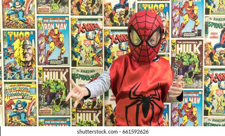 Samara, Russia - June 16,2017 ; The boy in Spiderman mask.Spiderman is a popular charactel Marvel.