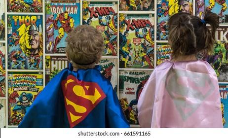 Samara, Russia - June 16,2017 ; The children in superman costume.Superman is a popular charactel Marvel.