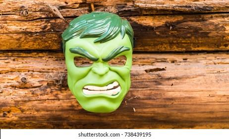 Samara, Russia - June 16,2017 ;Hulk mask Hulk is a popular character for Marvel.