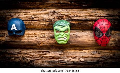 Samara, Russia - June 16,2017 ;Hulk, Spiderman, Capitan America masks  Hulk is a popular character for Marvel.Spiderman is a  popular character for Marvel.Capitan America is a popular character for Marvel.