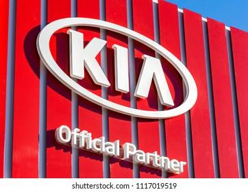 Samara, Russia - June 17, 2018: KIA Motors dealership logo. Kia Motors is South Korea's automobile manufacturer