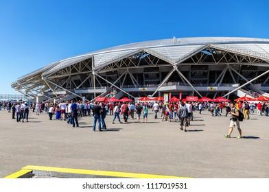 Samara, Russia - June 17, 2018: Samara Arena football stadium. Samara - the city hosting the World Cup in Russia in 2018