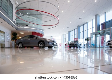 SAMARA, RUSSIA - June 19, 2015: Interior of the official Toyota dealer.