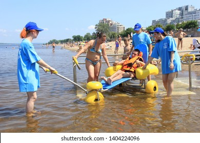 Samara, Russia, June, 21, 2016: opening of accessible beach for disabled people (people with disabilities), barrier-free environment