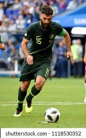 Samara, Russia - June 21, 2018. Australian team captain Mile Jedinak moments before he scored a penalty kick during World Cup 2018 match Denmark vs Australia.