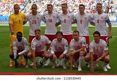 Samara, Russia - June 21, 2018. National team of Denmark before FIFA World Cup 2018 Denmark vs Australia