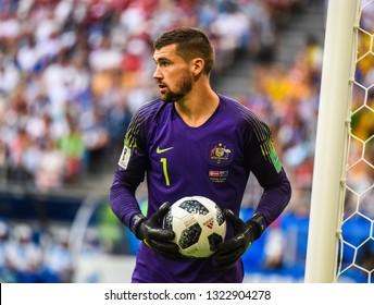 Samara, Russia - June 21, 2018. Brighton & Hove Albion Australian national team goalkeeper Mathew Ryan during World Cup 2018 match Denmark vs Australia.